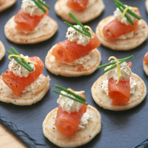 Blinis with creme Fraiche and Smoked Salmon and lemon zest