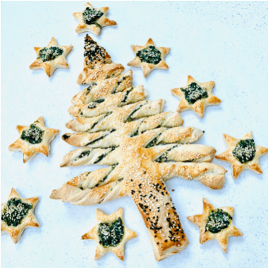 Puff Pastry Twists Christmas Tree, with spinach and ricotta